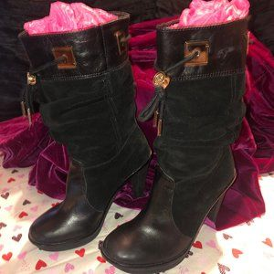 Michael Kors Leather/Suede Black Knee High Boots